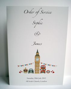 London Theme Wedding Order of Service www.beadazzledesigns.co.uk