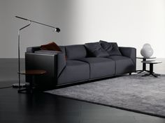 Tanned leather sofa with removable cover BACON KUOIO by Meridiani design Andrea Parisio