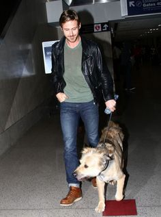 black leather + brown leather + cuffed denim + genuine smile + precious pup = wooing winner