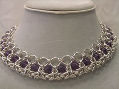 Byzantine Chainmaille Choker With Gem of Your by CBeDazzle on Etsy, $300.00 #chainmaille chainmaille, necklace, scalemail, choker. Tribal, elven, chain maille