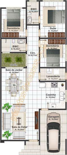 Casa Rio Verde: planta moderna com 3 quartos sendo 1 suíte e 2 banheiros - Plantas de Casas Small House Floor Plans, Bungalow House Plans, Bungalow House Design, Dream House Plans, Layouts Casa, House Layouts, Narrow House Designs, Small House Design, Home Room Design