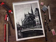 TATIANA BORISCHENKO. Notre Dame Cathedral, PARIS. /Charcoal, 2015/ #Paris #sketch #notredame #landscape #city #cityscape #drawing #arttati #париж #пейзаж #город #франция #набросок #рисунок Land Scape, Notre Dame, Cathedral, France, Watercolor, Paris, Drawing, Watercolour, Watercolor Painting