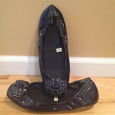 Jeweled Blue Flats with Elastic Sides Gorgeous navy blue leather imitation flats. Same style as the silver ones in my closet! Worn very limited and are in great condition! Please make me an offer! Shoes Flats & Loafers