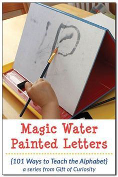 """Magic Water Painted Letters is a a fun and """"magical,"""" way to help preschoolers learn their alphabet. What a great way for kids to """"paint"""" without making a mess!    Gift of Curiosity"""
