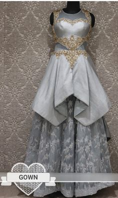 Net and silk grey gown with hand work. Western Gown, Western Dresses, Indian Dresses, Indian Outfits, Kurti Neck Designs, Lehenga Designs, Niqab Fashion, Fashion Dresses, Grey Gown