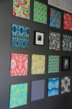 Bright fabrics trends we love fabric covered canvas, home decor и diy wall art Diy Wand, Diy Canvas, Canvas Wall Art, Home Decor Bedroom, Diy Home Decor, Fabric Covered Canvas, Canvas Fabric, Bright Walls, Dark Walls