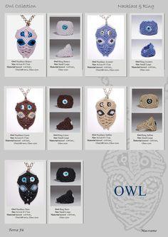 Owl Naclace & Ring; Terra Fu Macrame; Bianco, Azzurro, Cuoio, Sabbia, Nero