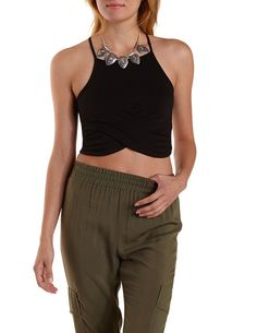 Racer Front Ruched Wrap Crop Top by Charlotte Russe - Blush