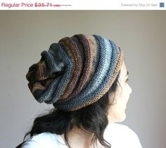 SALE Multicolor Knit Slouchy Hat - Chunky Beanie in Grey Brown - Oversize Beret -  Gift - Fall Winter Fashion - Women Teens Accessories