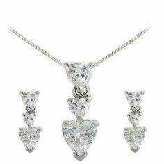 Sterling Silver CZ Graduating Heart Pendant & Earrings Set SilverSpeck.com. $24.99. Save 50% Off!