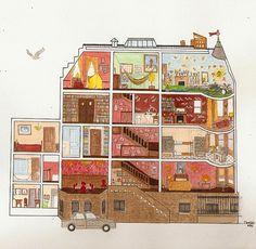 Royal Tenenbaum house illustration