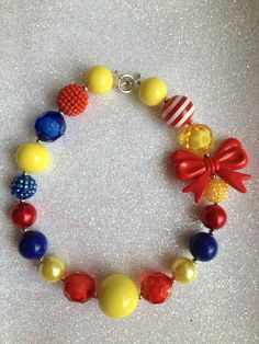 Chunky Necklace..Snow white inspired Necklace..Chunky Beaded Necklace..Childrens Necklace..Kids Necklace..Photo Prop..Gumball Necklace on Etsy, $15.50
