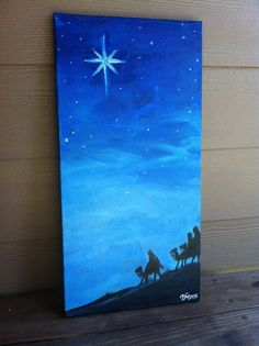 Wise Men Painting by ArtandSoulbyVero on Etsy. Beat the crowd and start your Christmas shopping early! Christmas Canvas, Christmas Signs Wood, Cool Christmas Trees, Christmas Ornament Crafts, Christmas Paintings, Christmas Pictures, Christmas Art, Christmas Projects, Christmas Decorations