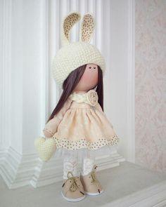 Cloth Rag Doll Beige Nursery Doll Love Winter Doll Fabric