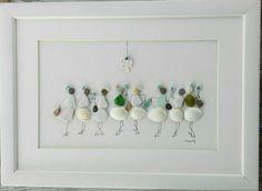 Pebble art 8 girls Pebble art 8 woman 8 lady wall art