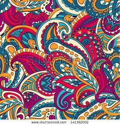Vector floral paisley seamless pattern — Vector by Lunarus Paisley Art, Paisley Design, Paisley Pattern, Paisley Color, Mandala Art, Textile Patterns, Print Patterns, Paisley Background, Arte Tribal
