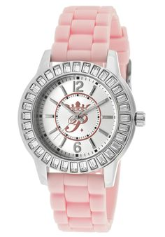 Women's Round Watch Case/Dial Color: Silver and Pink, Hands/Markers Color: Silver/Silver, Strap Color: Pink Beyond The Rack, Paris Hilton, Watch Case, Rolex Watches, Bracelet Watch, Jewlery, Pink Ladies, Purses, Crystals
