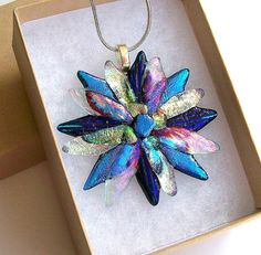 Fused Glass Dichroic Flower Pendant/ necklace by CDChilds on Etsy, $24.00