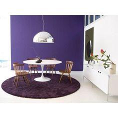 "Knoll  Saarinen 42.25"" Dining Table Table Base Finish: White, Table Top Finish: Light Walnut"