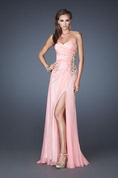 Glamorous 2013 Prom Dresses Sheath/Column Beading & Sequins Floor Length Pink Sweetheart Chiffon USD 139.99 TSPMH38EBG - StylishPromDress.com
