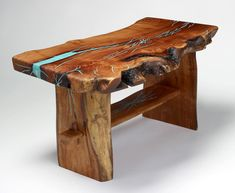 Wooden coffee table with turquoise inlay by Treestump Woodcrafts. I want furniture with turquoise in it so bad Handmade Wood Furniture, Resin Furniture, Log Furniture, Furniture Design, Log Coffee Table, Coffee Table Design, Mesquite Wood, Into The Woods, Wood Resin