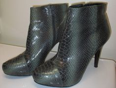 FOR SALE!  Check out these super sassy shooties....click on the photo to visit our Ebay store.  Bandolino Womens 6 1/2 M Herb Green Faux Snakeskin Reptile Ankle Boot Shootie #Bandolino #AnkleBoots #snake #reptile #green #herb #fashion #sexy #ankle #bootie #booty #shootie