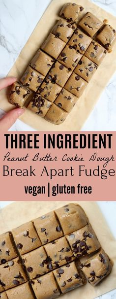Safe-to-eat Three Ingredient Peanut Butter Cookie Dough Break Apart Fudge - Vega., Desserts, Safe-to-eat Three Ingredient Peanut Butter Cookie Dough Break Apart Fudge - Vegan Vegan Dessert Recipes, Gluten Free Desserts, Dairy Free Recipes, Paleo Recipes, Potato Recipes, Protein Recipes, Fudge Recipes, Dinner Recipes, Oat Flour Recipes