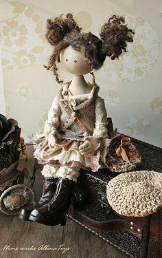 Коллекционные куклы ручной работы. Ярмарка Мастеров - ручная работа Иделия. Коллекционная кукла в бежево-кофейных тонах. Бохо стиль. Handmade.