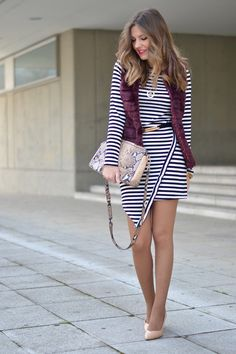 exciting fall combinations with striped dresses