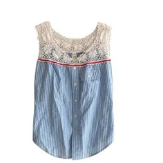 Free People Summer Top 100% cotton top with crochet neckline and pocket. Adorable! Free People Tops Tank Tops