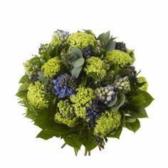 Blue Hyacinth Bouquet - Blue Hyacinth, Gelder Rose, Berried Ivy, Rosemary and Eucalyptus.