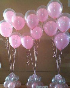 Pretty Pink Baloons Table Centres for wedding quince birthday party any… Balloon Centerpieces, Baby Shower Centerpieces, Baby Shower Decorations, Shower Party, Baby Shower Parties, Baby Shower Themes, Shower Ideas, Deco Ballon, Deco Originale