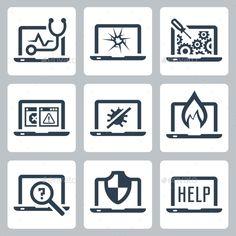Laptop Tech Service Icon Set — Photoshop PSD #maintenance #laptop • Available here → https://graphicriver.net/item/laptop-tech-service-icon-set/11687066?ref=pxcr
