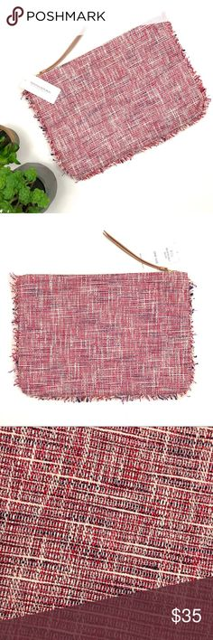 "NWT Banana Republic tweed and fringe large clutch Banana Republic tweed large clutch with fringe trim. Tones of red, maroon, blue and white. Measures approx 12.5""x9"". Banana Republic Bags Clutches & Wristlets"