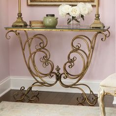 Scrolled Console Table from Seventh Avenue ® Console Table, My House, Beautiful Homes, Entryway Tables, Household, New Homes, Display, Living Room, Glass