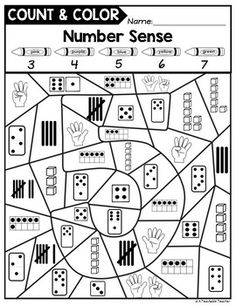 Color by Number sense activities for kindergarten and first grade. Numbers 0-10, great for subsidizing, too! Count and Color includes color-by-number activities with a twist. Students are shown multiple ways to represent a number. Therefore they must count before they color! This really makes your students THINK. | number sense games for kindergarten | first grade number sense | kindergarten math activities | math printable worksheets |