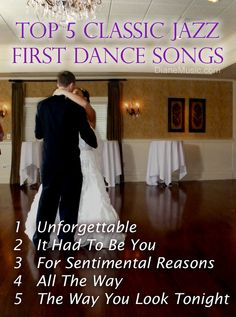 Top 5 Classic Jazz First #Dance Songs. #Wedding band Diane Martinson Combos.