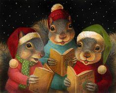 Singing Squirrel - Christmas Carol Squirrels - 2012 by Lisa Zador Christmas Carol, Christmas Squirrel, Christmas Animals, Christmas Print, Funny Christmas, Squirrel Art, Cute Squirrel, Squirrels, Pollyanna Gift