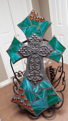 Teal Green Mosaic cross, mosaic stained glass cross, religious cross, christmas gift, housewarming g Mosaic Crosses, Wooden Crosses, Crosses Decor, Wall Crosses, Mosaic Art, Mosaic Glass, Stain Glass Cross, Cross Wall Decor, Cross Art