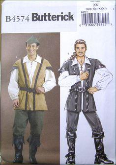 Patron Historique Butterick B4574 XN -  Costume de Robin des Bois- taille 46 à 56 France -Traduit Français