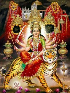 Yaa Devii Sarvabhuuteshhu Maatrirupena Sansthitah  Yaa Devii Sarvabhuuteshhu Shaktirupena Sansthitah  Yaa Devii Sarvabhuuteshhu Shaantirupena Sansthitah  Namastasyaih Namastasyaih Namastasyaih Namo Namah. Goddess Durga is omnipresent. She is the personification of Universal Mother. She is a Mother, who is present everywhere and who is embodiment of power and energy. Great mother, who is present everywhere and who is embodiment of Peace.I bow to that mother, I bow to Durga, I bow to Shakti
