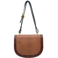 Stella McCartney Woven Faux Brown Leather Saddle Bag