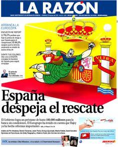 Portada triunfalista de La Razón tras eludir (supuestamente) el rescate europeo