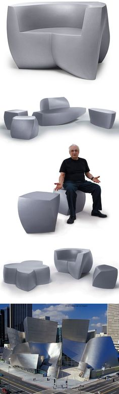 Frank Gehry Original Heller Modern Outdoor Chair, Silver