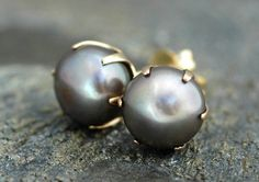Steel Grey Pearl and 14k Yellow Gold Earrings