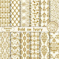 50% OFF SALE Gold Damask Digital Papers on Ivory Background | Quatrefoil - Roses - Heart shape Swirls | Printable Glitter Pages | Unlimited by PrintableTales on Etsy https://www.etsy.com/listing/239332397/50-off-sale-gold-damask-digital-papers