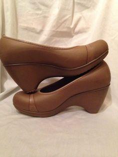 a193f260dc03 CROCS Lena Tan Brown Wedge Platform Heels Round Toe Womens Comfort Shoes  Size 9  Crocs
