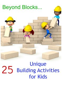 25 Unique Invitations to Build! Fun building activities for kids beyond blocks . Build with styrofoam, sugar cubes, orange peels, corks, etc..