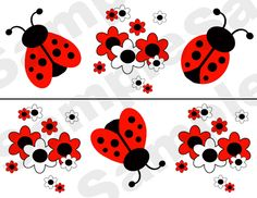 LADYBUG FLORAL WALL BORDER DECALS baby girl nursery kids room stickers decor.