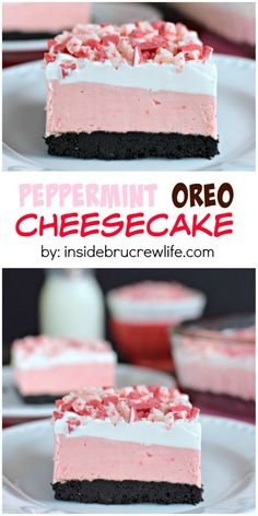 This easy no bake cheesecake has peppermint and Oreo layers. Perfect holiday tre… This easy no bake cheesecake has peppermint and Oreo layers. Oreo Cookie Recipes, Oreo Cheesecake Recipes, Peppermint Cheesecake, Easy No Bake Cheesecake, Christmas Cheesecake, Cheesecake Cookies, Simple Cheesecake, Chocolate Mousse Cheesecake, Homemade Cheesecake